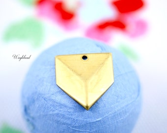 Raw Brass 3D Looking Triangle Charms - 4