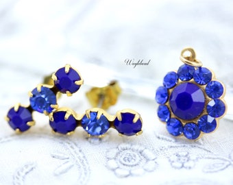 Navy & Sapphire Triple Rhinestone Earring Studs Swarovski Crystal Ear Posts Set Stones Charm Pendant Set