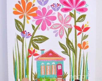 Happiest House 8x10 Fine Art Print, Wall Art, Home Decor, New Orleans House, Floral Art, Paper Collage, Colorful Art, Megan Jewel Designs