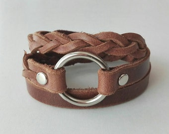 Braid Leather Bracelet Leather Cuff with Metal O Ring Snap Button Clasp in brown
