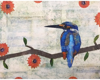 Fine Art Giclee Bird Art Print Kingfisher Collage