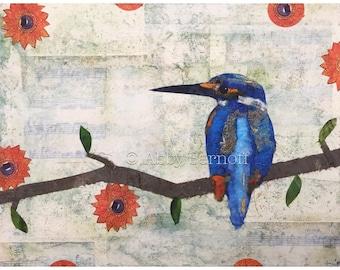 Woodland, Woodland Creature, Tree Branch, Animal Art, Whimsical Art, Colorful Art, Kingfisher, Art Print, Bird Print, Bird Lover, Wall Art