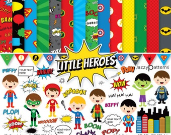 Superhero clipart and printable digital paper pack. Comic book style. Instant download (DK023)