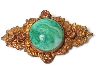 Faux Jade Peking Glass Czech Brooch Pin Floral Gold Tone Vintage