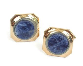 Sodalite Cuff Links Gold Tone Squared Swivel Backs Blue Gemstone Vintage