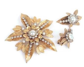 Faux Pearl Rhinestone Brooch Earrings Set Flowers Leaves Vintage