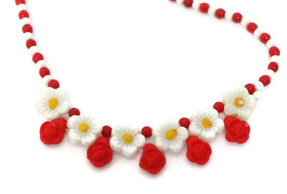 Red and White Floral Bead Necklace Czech Bohemian New Old Stock