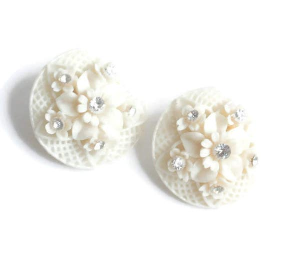 Featherweight Flower Earrings Ivory Color Clear Rhinestones Clip On Vintage Wedding Jewelry