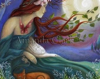 Art print titled'Habondia' from an original painting by Amanda Clark. Goddess art, Beltane, Nature and Wildlife art