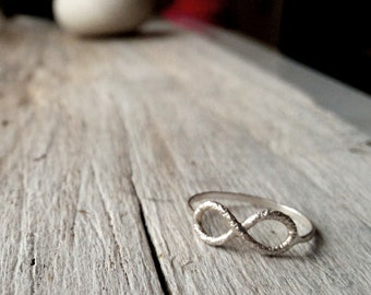 Sterling Silver infinity ring, faceted diamond texture, Love or Friendship BFF