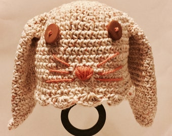 Crochet Bunny Hat/Bunny Beanie/For Infant, Baby, Toddler/Preschool- Great for Easter Photos and Spring Fun
