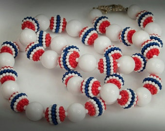 1960s Red White & Blue Glossy and Bubble Gun Beaded Single Strand Patriotic Vintage Necklace