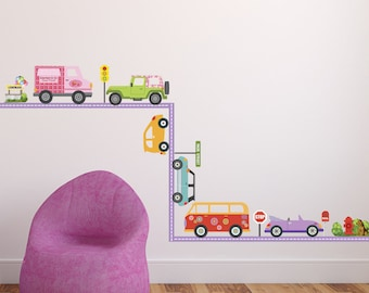 Girlu0027s Colorful Adventure Cars Wall Decals With Straight Purple Road,  Removable U0026 Reusable Stickers