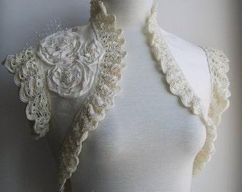 Bolero Shrug Wedding Dupioni Silk Bridal Bride Handmade Silk Crochet Lace /ADOLESCENCE/Boho Bohemian TianaCHE