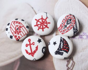 Retro Black Red Graffiti Style Nautical Marine Anchor Sailing Boat Rudder Paisley Floral - Handmade Fabric Cover Buttons(0.98 Inches, 5PCS)