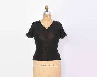 Vintage 70s Metallic YSL SWEATER / 1970s Black Lurex Lightweight Yves Saint Laurent Pullover Knit Top