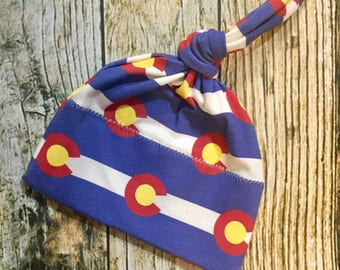 Colorado Newborn Knot Hat - Baby Beanie with Flag Design