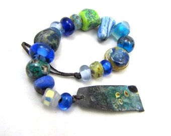 Crusty Crubbly Organic Blues and Greens Dichroic and Spacers  Orphan Lampwork Glass Beads - set of 18