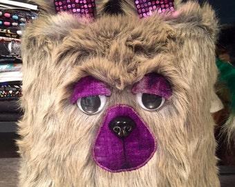 Sleepy Heads Bear plushie. Decorative pillow. Tan faux fur with sparkly purple ears
