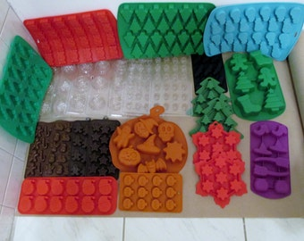 25 Lot of Soap Molds Christmas Halloween, Candy Molds