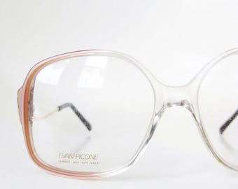 ON SALE Vintage 1970s Oversized Eyeglasses Eyeglass Frames Womens Pink Pearl 70s Seventies Brass Clear Indie Hipster Chic Sunglasses Deadsto