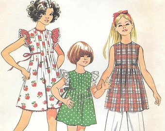 Simplicity 5481 1970s Girls Pleated Front Dress with Butterfly Sleeves Vintage Sewing Pattern Size 8 Breast 27