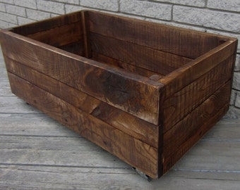 """RECLAIMED WOOD Rolling Crate - Solid Ash Wood Hand Crafted In Michigan 28""""L X 14""""W X 14""""H"""