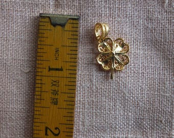 GOLD Filigree 24K gold plated in sterling silver Lucky Charm Clover