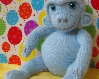 50% OFF SALE Digital pdf file knitting pattern - madmonkeyknits Nursery Blue Monkey toy animal knitting pattern pdf download