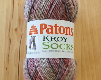 Sock Yarn - Patons Kroy Socks Stripes Wool Blend Yarn - Brown Rose Marl