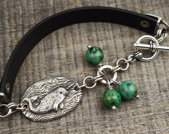 African turquoise narwhal bracelet, blue green jewelry, leather, ocean, 7 3/4 inches long