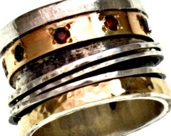 Spinner Ring  Spinning ring silver 9K gold  / Spinner ring for Woman / Sterling Silver .925 / Garnets