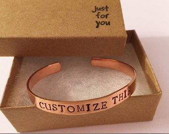 Rose Gold Cuff Bracelet. Custom Cuff bracelet Personalized bracelet Hand Stamped Jewelry Rose Gold Bracelet for Women.
