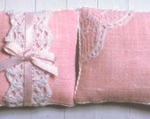 1:12 Pink Linen & Lace Dollhouse Scale Miniature (2) Pillows Shabby Cottage Chic *Free Shipping*