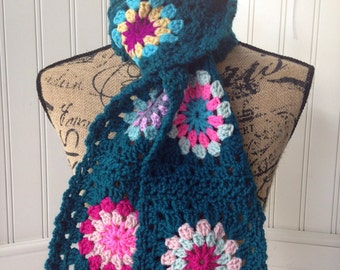 Scarf, Crochet Scarf, Teal Granny Square Scarf, Winter Scarf, Crocheted Sunburst, Boho Crochet Scarf, Green Blue, Colorful Scarf