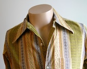 Vintage 70's Wide Collar Stripe Print Shirt in yellows, greens and black
