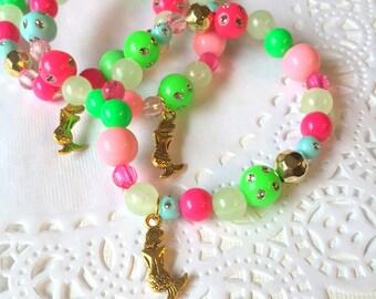 Mermaid bracelet, kids jewelry, mermaid party, beaded bracelet, jewelry party favor, mermaid jewelry. SET of TEN.