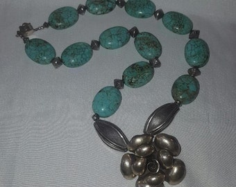 Vintage Hand Crafted Large Sterling Silver and Turquoise Flower and Bead Necklace