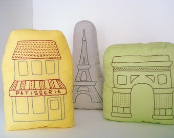 Paris throw pillow, Patisserie shaped pillow, hand embroidered