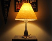 Vintage Table Lamp made from Exploded Mortar Round (Bomb). Circa 1970's.