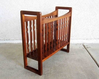 Vintage Danish Modern Magazine Rack in Teak Wood. Circa 1960's.