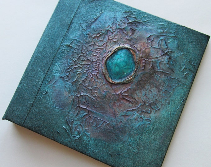 Handmade Refillable Journal Distressed Turquoise Jewel Original 6x6