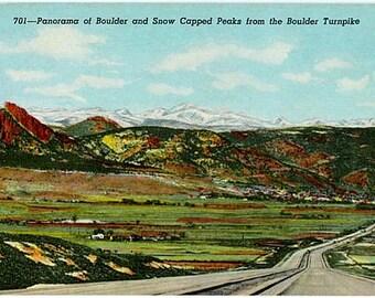 Vintage Colorado Postcard - Boulder and Snow Capped Peaks (Unused)