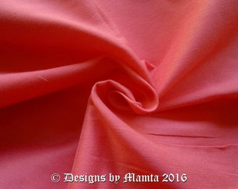 Coral Pink Dupioni Silk Fabric By Yard, Light Orange Dupion Silk, Art Silk, Coral Curtain Fabric, Indian Dressmaking Salmon Silk Fabric