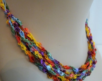 SALE Crocheted Necklace in Yellow, Blue, Green, Purple, Red, Multi Strand, Allergy Friendly