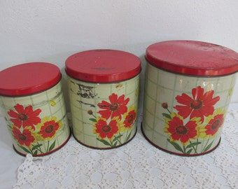 Shabby Farmhouse Canisters Set of 3 Metal Containers