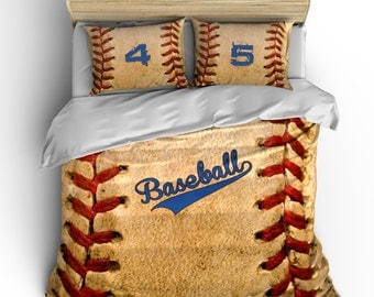 Monogrammed Vintage Baseball Theme Bedding Stitch Look Design Your Monogram With Name