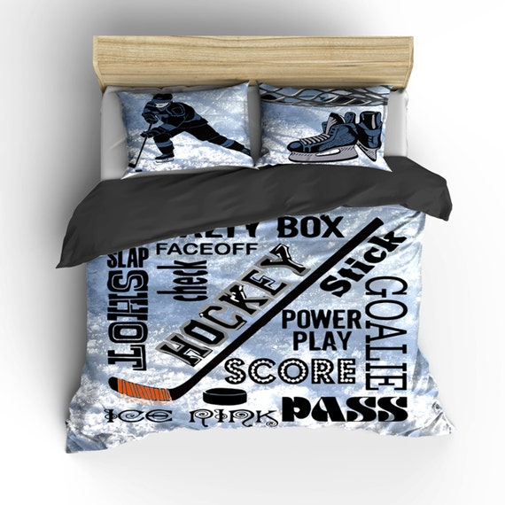 Hockey Theme Bedding-Phrases and Player Toddler Twin