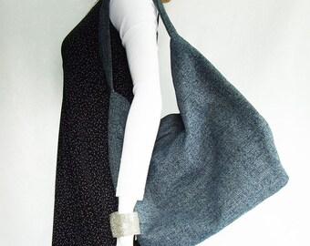 Dark Blue Handbag, large navy blue hobo style shoulder bag, woven upholstery fabric bag with blue & white flower lining and zipper pocket