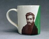 Jake Gyllenhaal Decal Hand Built Ceramic Coffee Cup Mug Emerald Green